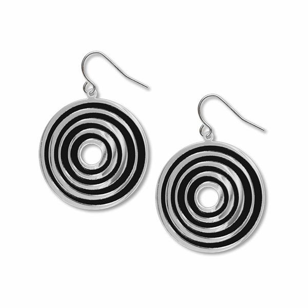 Op Art target black accent earrings