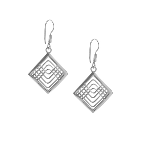 Open diamond design drop silver earrings