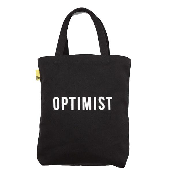 Optimist / Pessimist reusable canvas tote bag