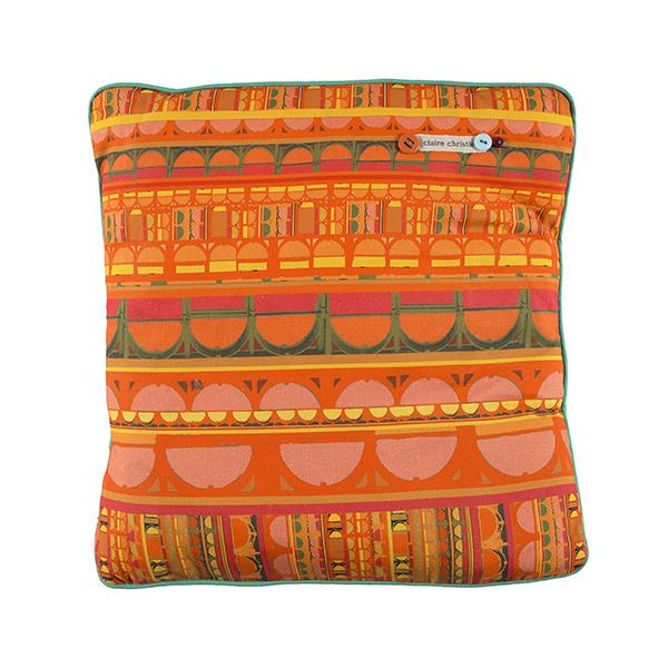 Orange curve pattern handmade cushion
