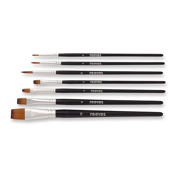 Pack of seven watercolour paint brushes