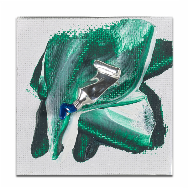 Reine d'Amour Blue Paint Tube Silver Brooch