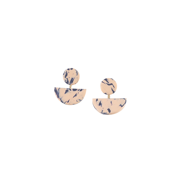 Peach and blue flecked geometric short drop earrings