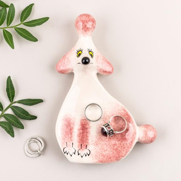 Pink poodle ceramic trinket dish