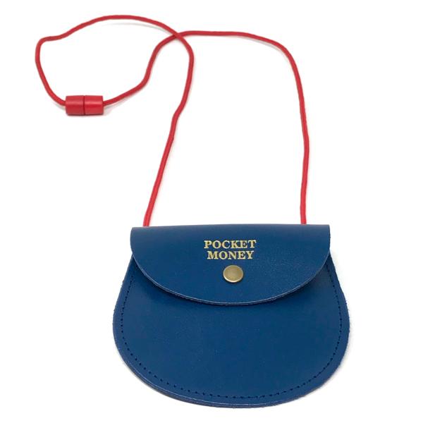 Pocket money blue leather purse