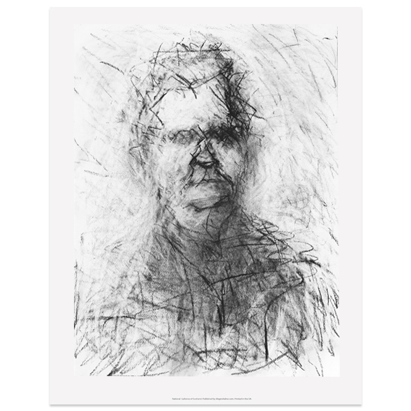 Portrait drawing in progress of Val McDermid II by Audrey Grant poster print