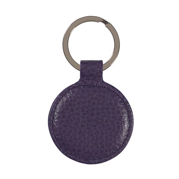 Aubergine purple leather round key ring