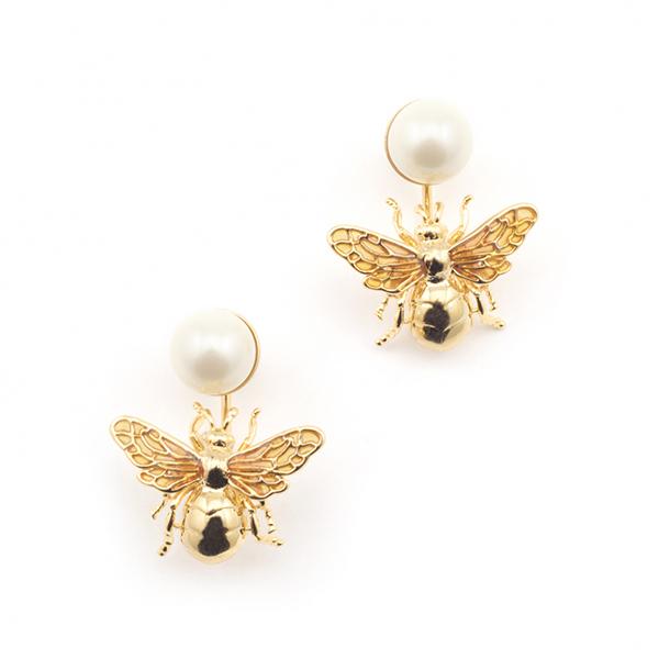 Queen bee statement pearl drop earrings