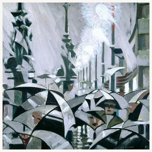 Rain on Princes Street Stanley Cursiter Greeting Card