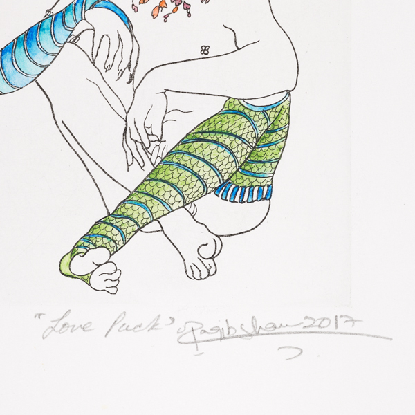 Raqib Shaw Love Puck limited edition hand coloured etching
