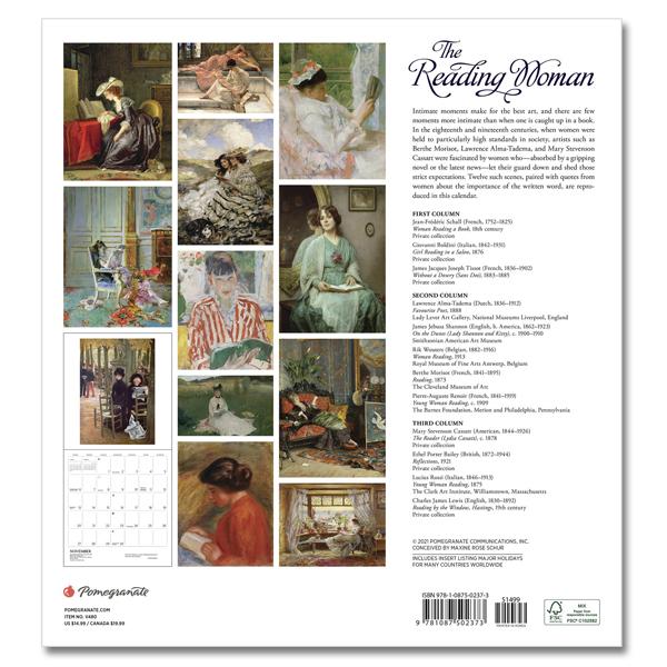 Reading woman 2022 wall calendar