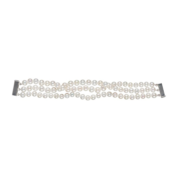 The Real Pearl 3-strand White Pearl Bracelet