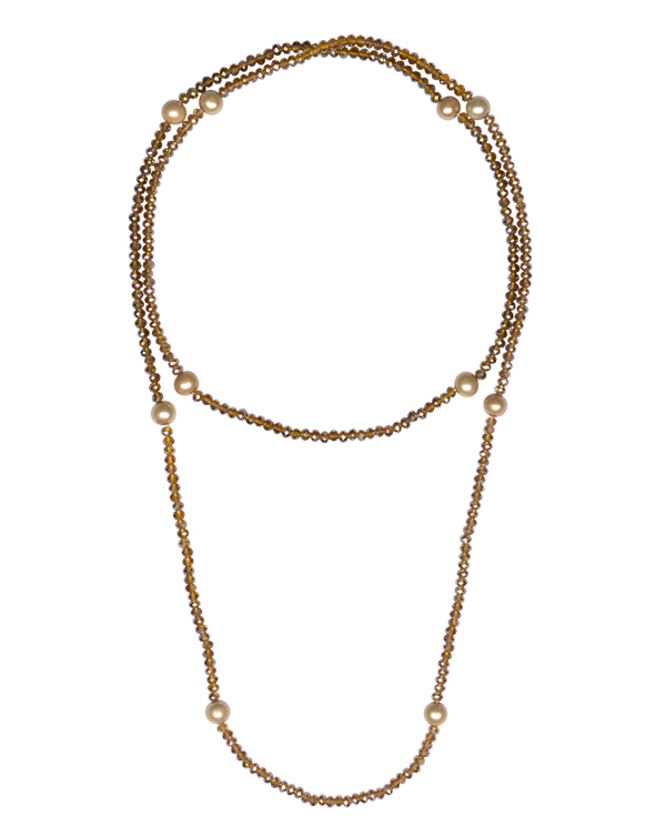 The Real Pearl Brown Crystal Necklace