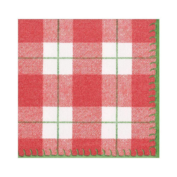 Red and white checked plaid napkin pack (15 pack)