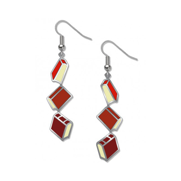 Red books long drop earrings
