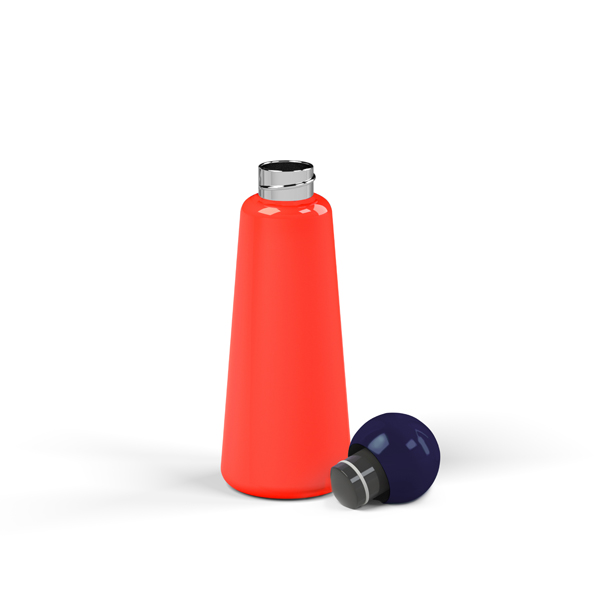 Reusable coral and navy blue skittle design 500ml (17 oz) water bottle by Lund