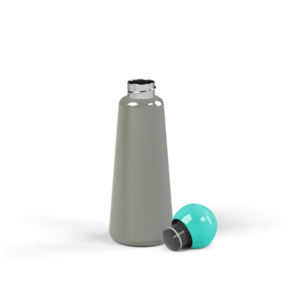 Reusable dark grey and teal skittle design 500ml (17 oz) water bottle