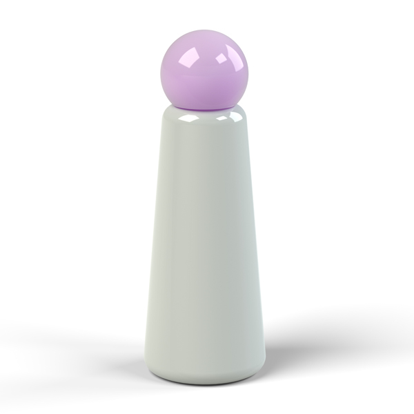 Reusable grey and lilac skittle design 500ml (17 oz) water bottle