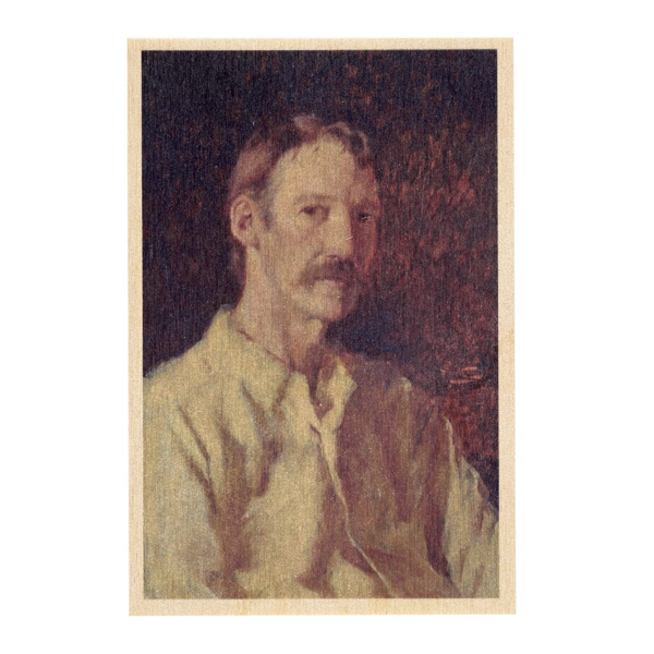 Robert Louis Stevenson by Count Girolamo Nerli wooden postcard