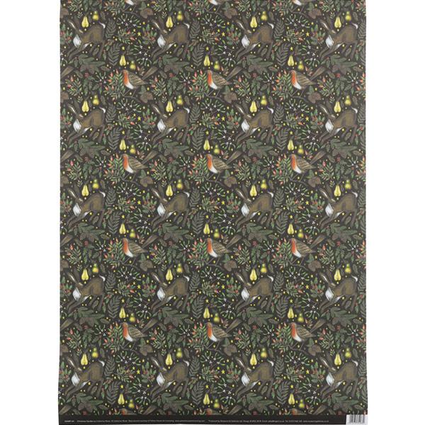 Robin and rabbit woodland garden gift wrap (single sheet)