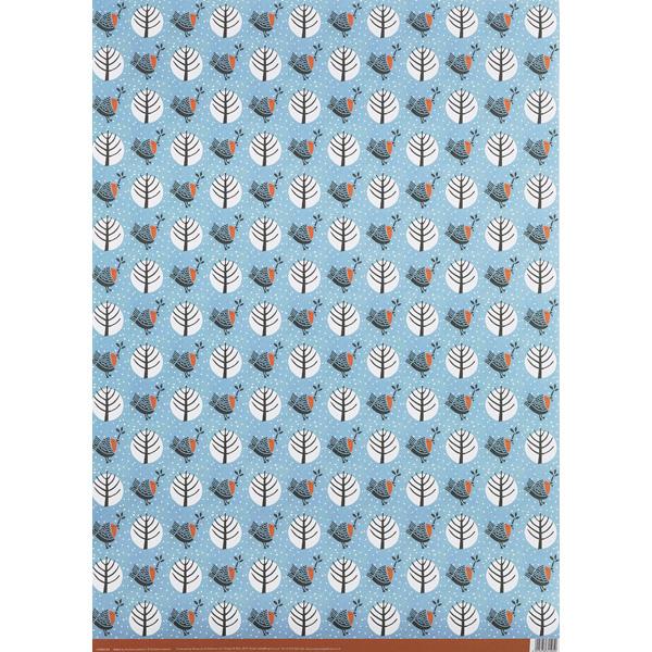Robin modern woodland gift wrap (single sheet)