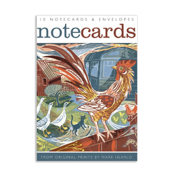 Rooster and owl flight notecard set