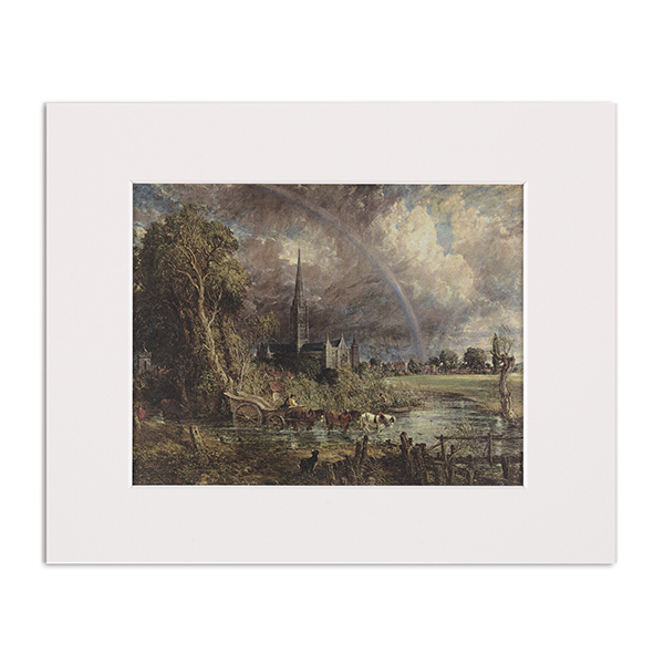 Salisbury Cathedral from the Meadows by John Constable mounted art print (25 x 20 cm)