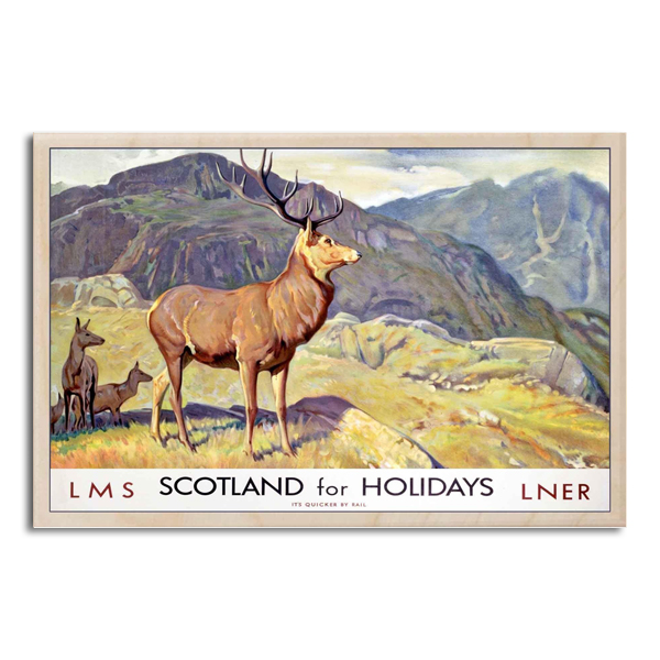 Scotland for holidays wooden postcard