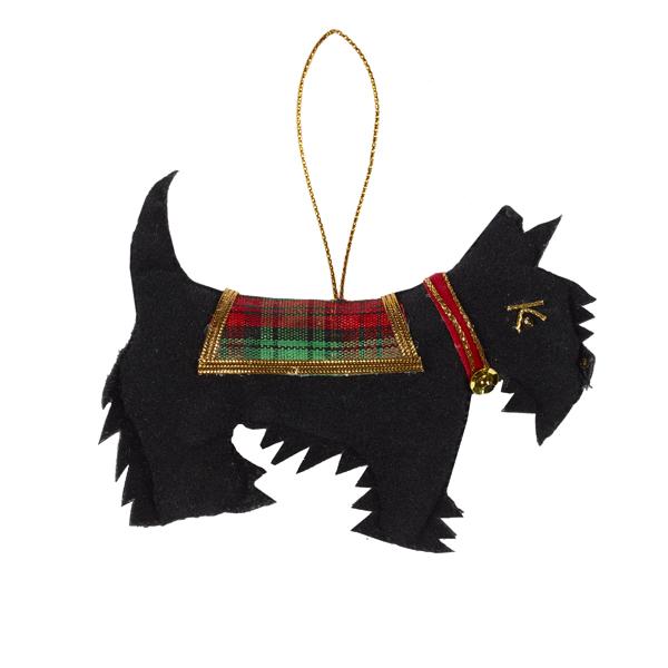 Scottie dog fabric beaded decoration
