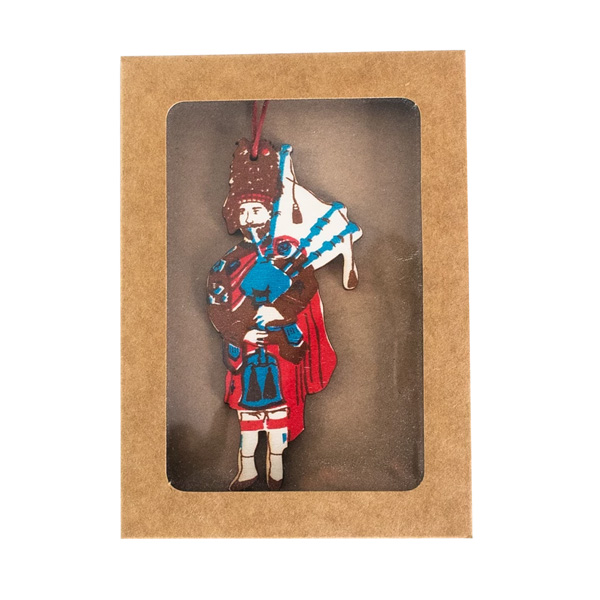 Scottish bagpiper hand printed wooden decoration