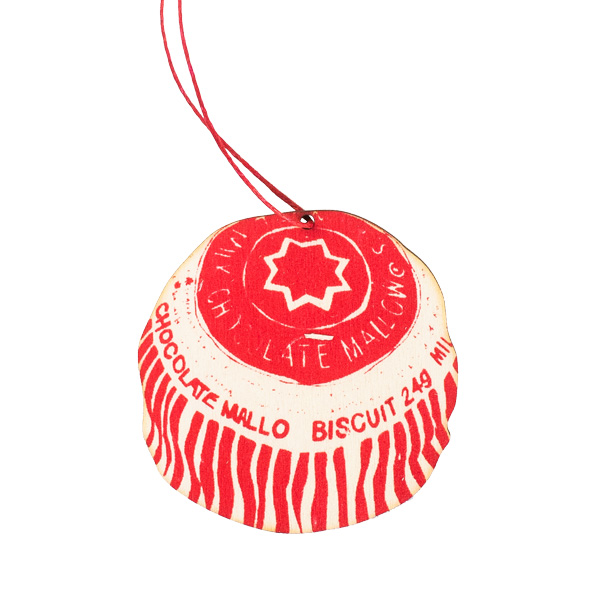 Scottish teacake biscuit hand printed wooden decoration