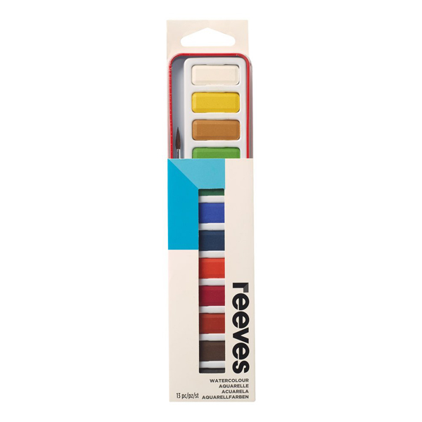 Set of watercolour paint tin with brush