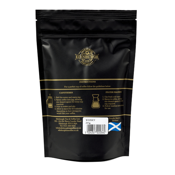 Whisky flavoured ground coffee (200 grams)