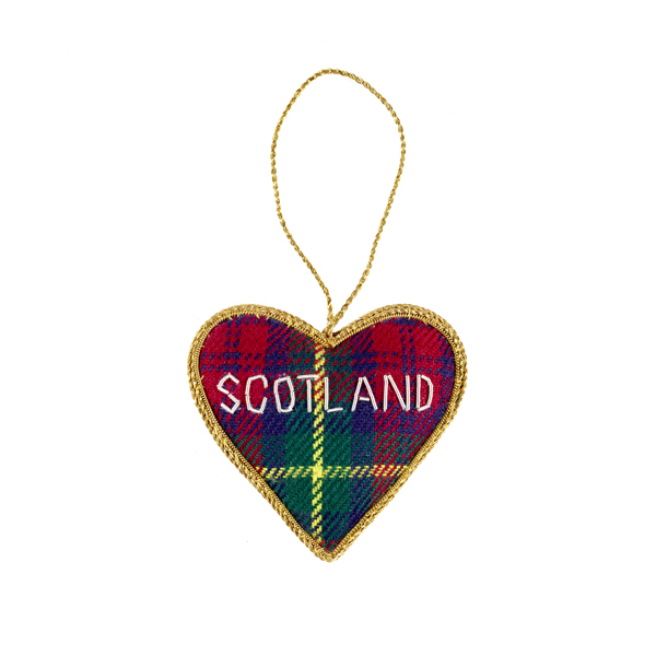 Tartan Scotland Heart Christmas Decoration