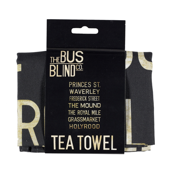 Princes Street to Holyrood bus blind tea towel
