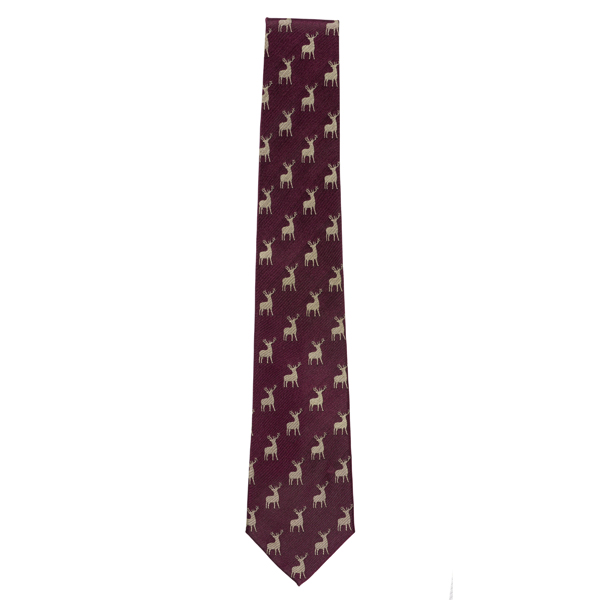 Stag Pattern Plum Woven Silk Tie