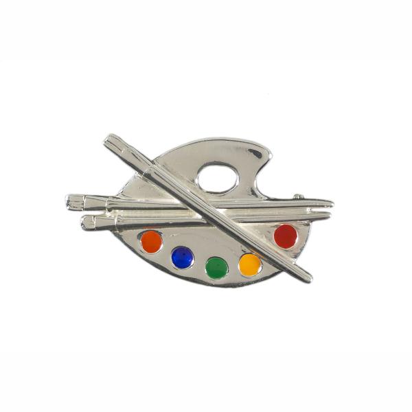 Artist palette silver brooch