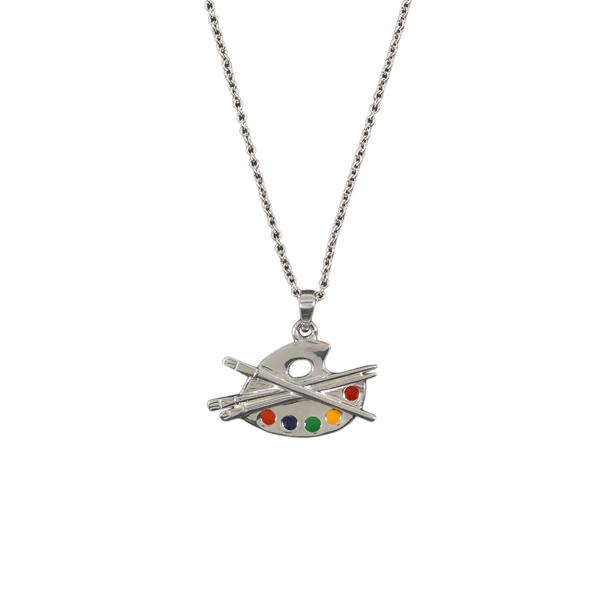 Artist palette silver necklace
