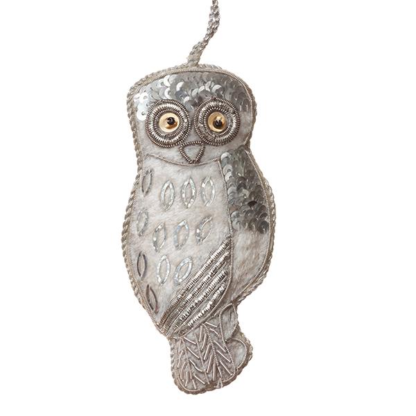Snow owl fabric Christmas decoration