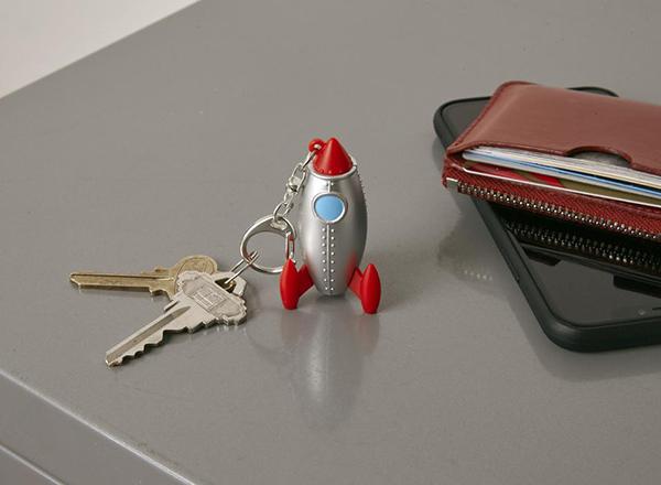 Silver rocket keyring