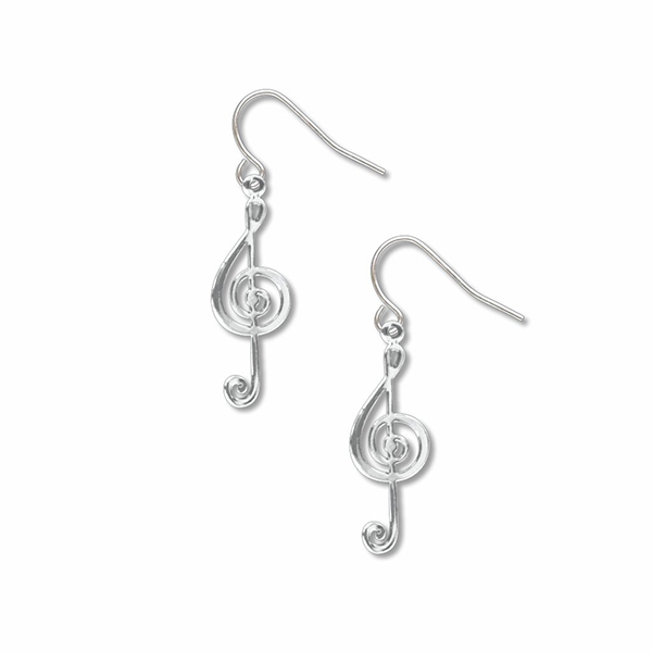 Small G-clef music symbol earrings
