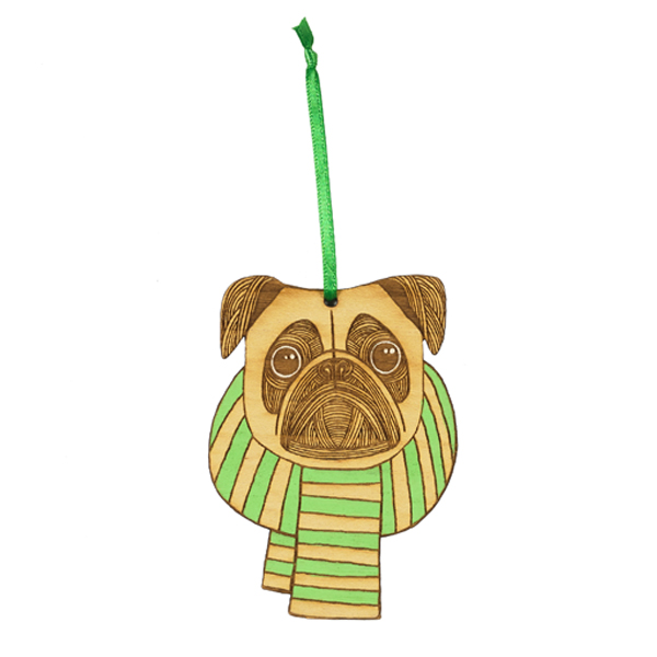 Pug dog with green scarf wooden decoration
