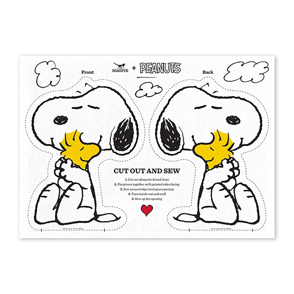 Snoopy love cut and sew cotton tea towel