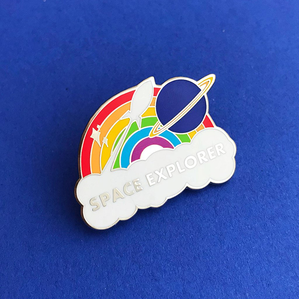 Space explorer rainbow enamel pin