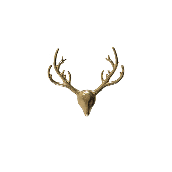 Stag head gold plated lapel pin