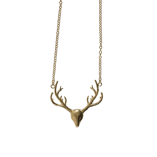 Stag head gold plated pendant