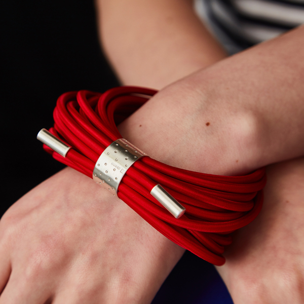 Sterling silver and hand dyed red elastic bangle