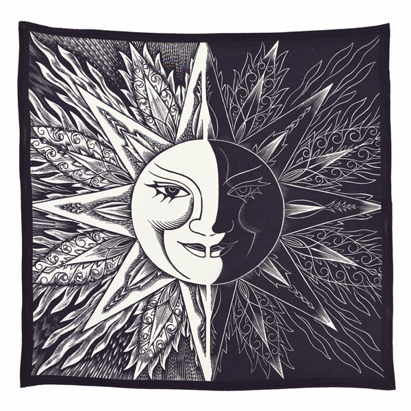 Sun and Moon by Jozef Sekalski silk square scarf