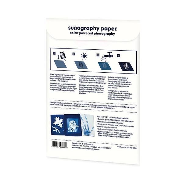 Sunography light sensitive photography paper kit (6 sheets)