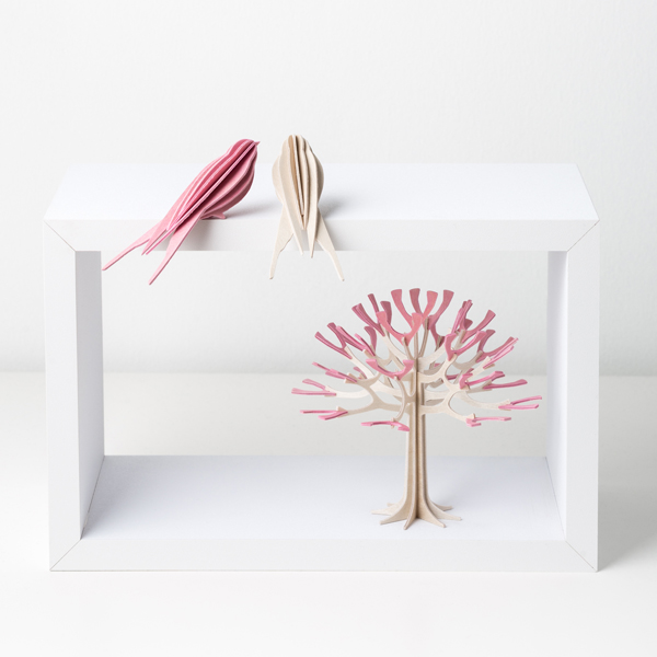 Pink cherry tree wooden flat pack decoration kit (12cm)